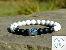 Men's Howlite/Onyx Matt Skull Bracelet with Swarovski Crystal 7inch Elasticated