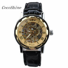 Classic Men Black Leather Gold Dial Skeleton Mechanical Sport Army Wrist Watch