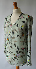 Ladies Zara Light Green Bird Print Blouse, Blouson Top Size S UK 8