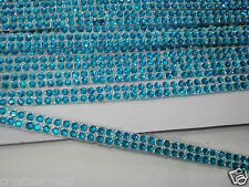 3mtr 2strip BLUE iron-on hotfix Rhinestone crystal Bling ROPE REEL Ribbon border