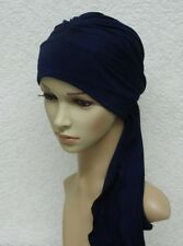 Navy blue head scarf, chemo head wear, chemo hat with ties, viscose jersey