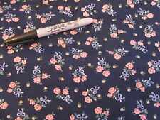 1 Yd Navy Blue Cotton Quilt Fabric w/ Pink Cabbage Rose & Blue Ribbons #2700