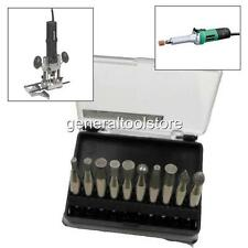 10 pieza Diamond Burr Bit Set Dremel styel pero mayores 6,35 Mm 1/4 Shank
