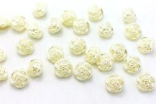 Pearl White Rose Shank Buttons Elegant Flower Blouse Shirt Craft Bead 13mm 20pcs