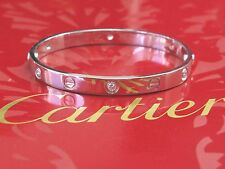 Cartier 18KT 6-Diamond Love Bracelet White Gold Size 17 AK8080 COMPLETE PACKAGE