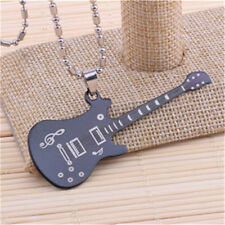 Classic Men's Guitar Silver 316L Stainless Steel Titanium Pendant Necklace NEW
