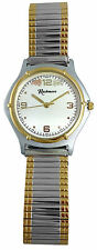 Mens Black Hills Gold Watch 12K Gold Leaves Silvertone Face Stainless Stretch