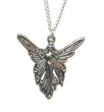 Large 1 and 1/2 inch Tibetan Silver Tone Angel Pendant on SP Chain Boxed Gift