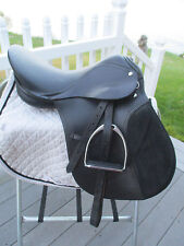 17'' Black LEATHER  English  A/P Saddle - MEDIUM/WIDE GULLET W LEATHERS & IRONS