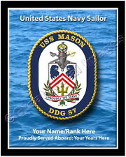 USS Mason DDG 87 Personalized Ship Crest Print on Canvas 2D Effect