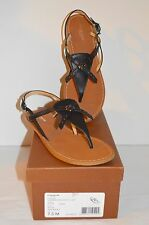 New $135 Coach Camara Semi Matte Calf Leather Sandal Black sz 7.5
