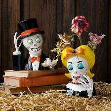 "PJ0458 7"" Mister Misses Skeleton Head Dead Flower Vase S/2 Halloween Decoration"