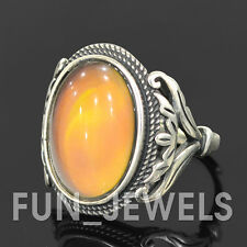 New 925 Sterling Silver Vintage Oval Mood Ring Multi Color Change retro Unisex