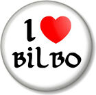 I Love / Heart BILBO 25mm Pin Button Badge The Hobbit Lord Of Rings JRR Tolkein