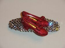 Swarovski Crystals & RED RUBY SHOES Barrette Clear/Red DOROTHY!