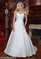 STOCK New Taffeta White/Ivory Beads Wedding Dress Bridal Gown SZ 6-8-10-12-14-16