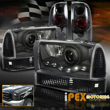 1999-2004 FORD F250 F350 Super-Duty LED Black Headlights+Signal+Smoke Tail Light