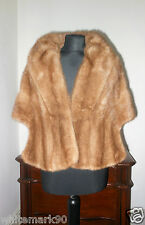 Real Hazel Mink Fur Stole Shrug Shawl Wrap Cape Poncho Jacket Coat  Sable Colour