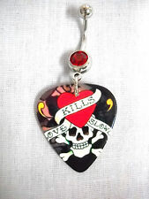 CLASSIC TATTOO LOOK LOVE KILLS SLOWLY BANNER SKULL GUITAR PICK RED CZ NAVEL RING