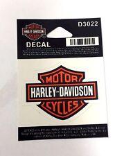 Calcomanía Harley Davidson Barra y Escudo Naranja y Negro Pequeño Genuino Nuevo D3022