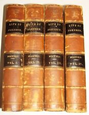 THE LIFE OF SAMUEL JOHNSON BY JAMES BOSWELL 1867 LEATHER 4 VOLUMES VERY GOOD