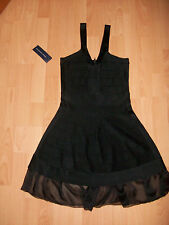 BNWT FCUK French Connection @ ASOS Black Spotlight Fluted Hem Dress Size Small