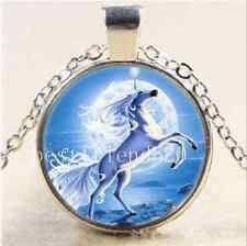 Unicorn With Moon Photo Cabochon Glass Tibet Silver Chain Pendant Necklace#6103