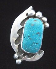 Vintage Navajo Old Pawn Silver and Turquoise Ring SZ 9 ½ Large Face *GR291