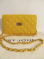 NEW ST JOHN KNIT WOMENS YELLOW QUILTED CHAIN LOGO SHOULDER BAG LEATHER PURSE