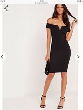 Missguided Black V Front Bardot Bodycon Dress. Size 8.