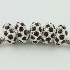 5PCS Czech Crystal Rhinestone Silver Big Hole Spacer European Charm Beads 6x11mm