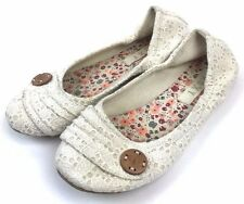ROXY Womens Sz 7 Slip On Ballet Flats Delaney III Cream Crochet Lace Wood Button