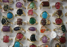 LOT DE 50pcs naturel alloy stein mix plaqué or bague bijoux NG0030