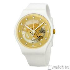 New Swatch Sunray Glam Gold Skeleton Dial White Silicone Watch 42mm SUOZ148 $85