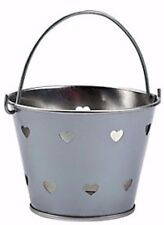 METAL SILVER HEART PUNCHED TIN PAILS BUCKETS NEW (LOT OF 12) HUGE LOT