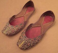 pair of antique handmade leather embroidered Turkish women lady shoes slippers