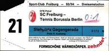 Ticket DFB-Pokal 93/94 SC Freiburg - Tennis Borussia Berlin, 01.12.1993