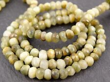 "HAND FACETED CAT'S EYE CHRYSOBERYL RONDELLES, approx 4mm, 13"", 110 beads"