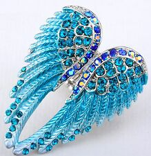 Angel Wings Stretch Ring Crystal Rhinestone Fashion Bling Jewelry Blue RD01