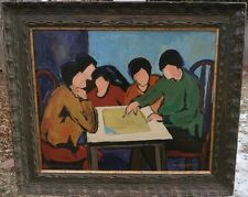 5 Women Talking Around a Table -Expressionist Oil Painting-1960s-Maxim Bugzester