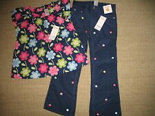 Gymboree NWT Smart and Sweet 2 pc outfit navy flower corduroy pants & top 6 WoW!