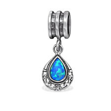 925 Sterling Silver Teardrop Bead Charm Created Opal Pacific Blue 8 x 10 mm