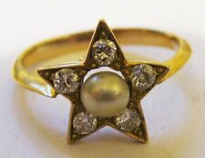 Diamond and pearl 18 carat gold ring - beautiful quality