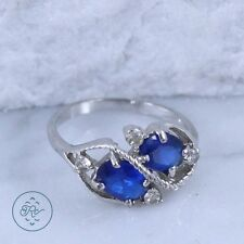 Silver Plated | Braided Oval-Cut Blue Rhinestone Duo 2.3g | Ring (6)