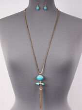 Shiny Gold Box Chain w Genuine Pyrite Turquoise Oval Pendant Tassel Necklace Set