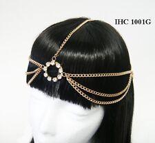 Gold Head Chain Paved Rhinestones Egyptian Style Bohemian Tassel Hair Piece