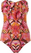 BNWT SEAFOLLY SWIMSUIT SIZE 8 'VIBE' CASCADE FRONT PINK  MIX STRAPLESS LINED