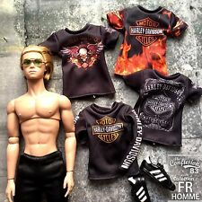 Set of 4  t-shirts / male outfits for Fashion Royalty FR and 1/6 action figure.