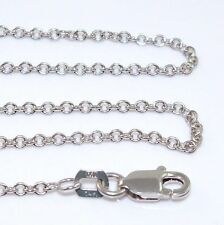 """New Solid 14K White Gold 1.5mm Rolo Chain Link Necklace 18"""""""