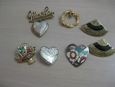 Estate Costume 7 Piece Pin Lot Gold Tone Hearts Fans Mother Locket Flower Circle